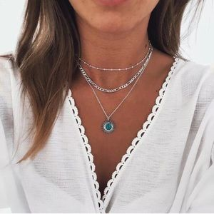 Jewelry - 3/$30 Boho Layered Silver & Turquoise Necklace